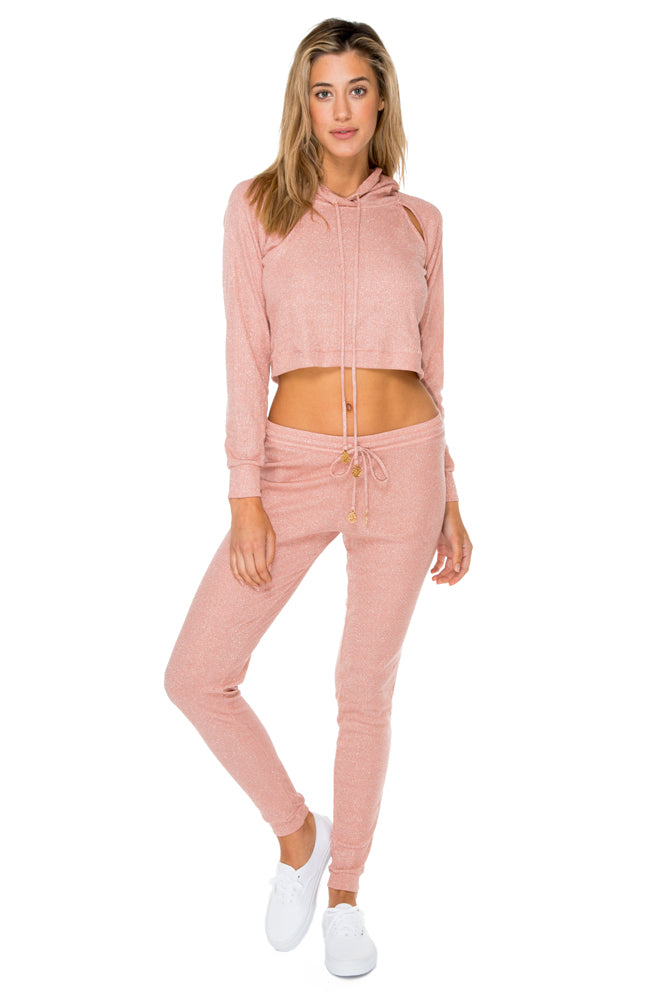 SABOR - Hoodie Cut Out Cropped Jacket & Jogger Pants • Rose Silver