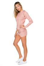SABOR - Hoodie Cut Out Jacket & Relaxed Shorts • Rose Silver
