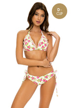 BLOOMIN' BEAUTY - Triangle Halter Top & Drawstring Side Full Bottom • White