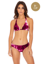 INK EXPLOSION - Triangle Halter Top & Seamless Full Ruched Back Bottom • Violet