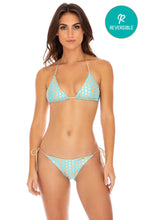 DOTTED DELIGHT - Triangle Top & Wavey Ruched Back Tie Side Bottom • Aqua