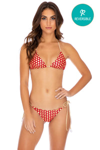 DOTTED DELIGHT - Triangle Top & Wavey Ruched Back Tie Side Bottom • Ruby Red