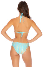 DOTTED DELIGHT - Triangle Halter Top & Full Bottom • Aqua