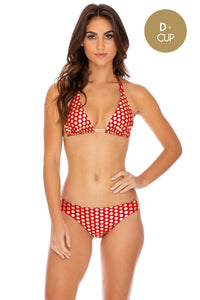 DOTTED DELIGHT - Triangle Halter Top & Full Bottom • Ruby Red