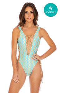 DOTTED DELIGHT - Open Side One Piece Bodysuit • Aqua