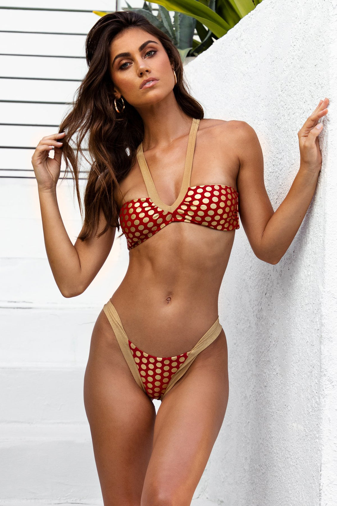 DOTTED DELIGHT - Bandeau Top & Brazilian Bottom • Ruby Red Campaign