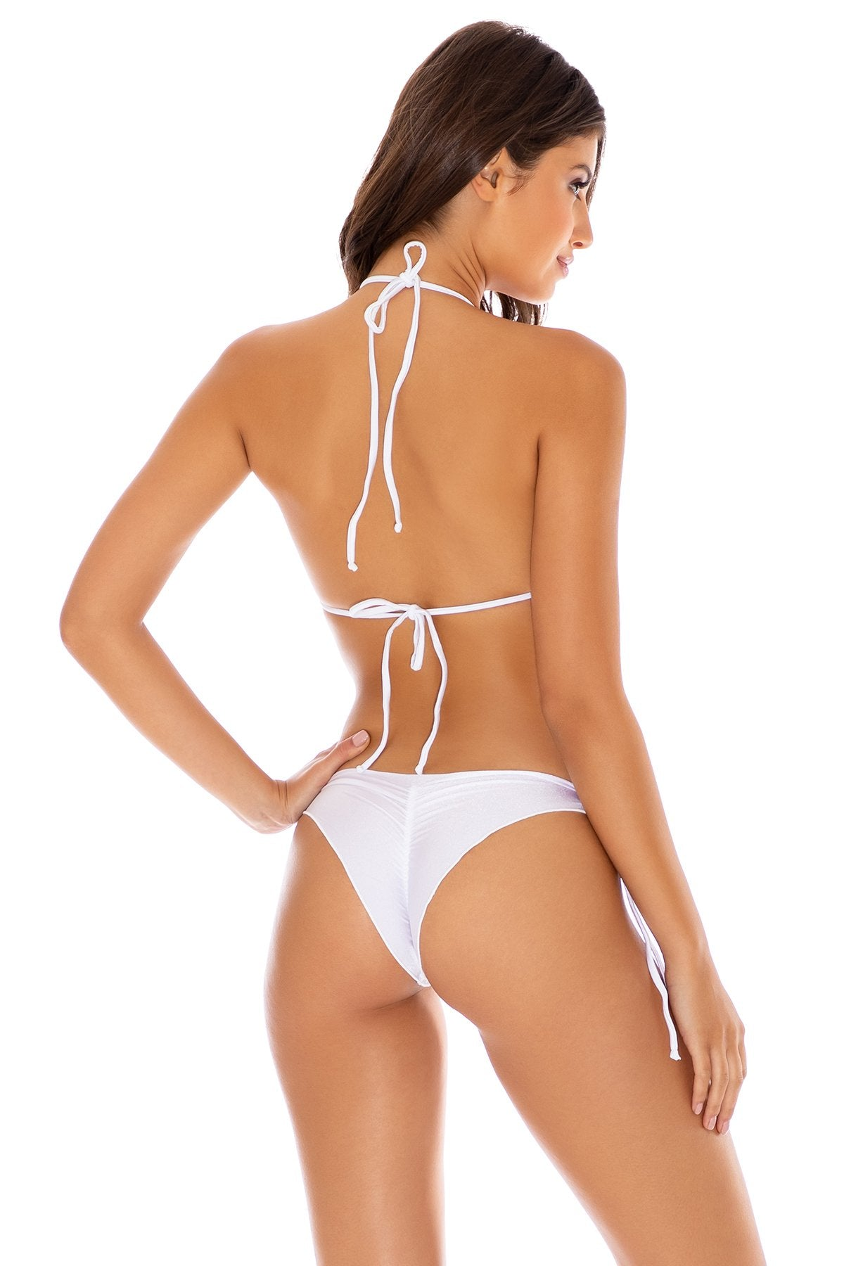 COSITA BUENA - Wavey Triangle Top & Wavey Ruched Back Tie Side Bottom • White