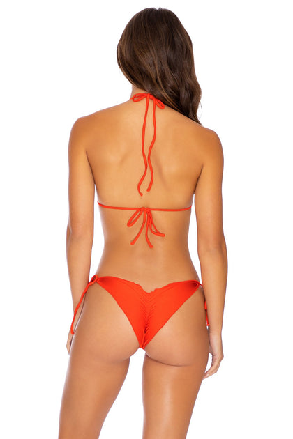 COSITA BUENA - Wavey Triangle Top & Wavey Ruched Back Tie Side Bottom • Sangrita