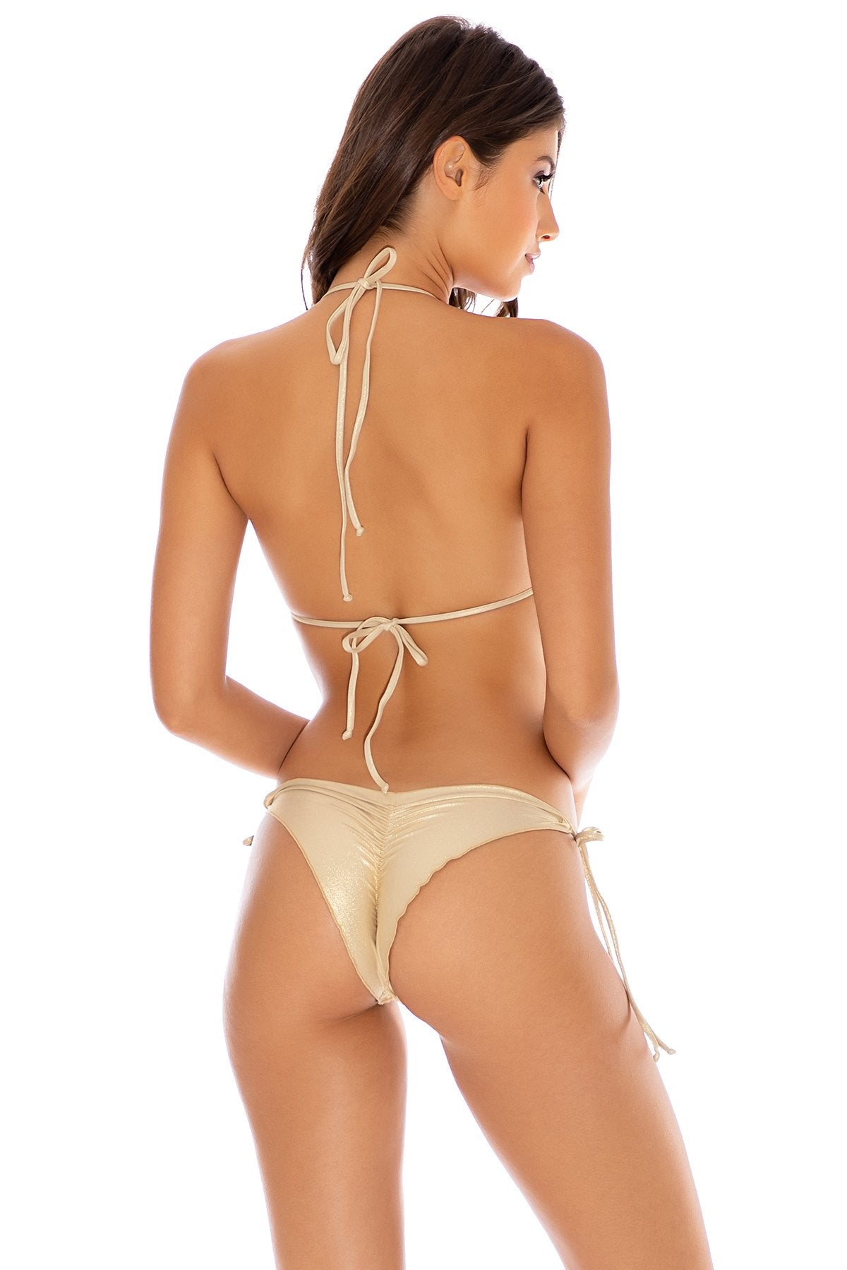 COSITA BUENA - Wavey Triangle Top & Wavey Ruched Back Tie Side Bottom • Gold Rush