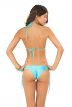 COSITA BUENA - Wavey Triangle Top & Wavey Brazilian Tie Side Ruched Back • Aruba Blue