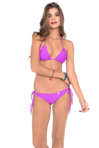 COSITA BUENA - Wavey Triangle Top & Wavey Brazilian Tie Side Ruched Back • Purple Ocean
