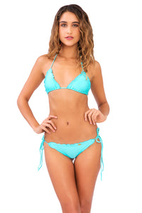 COSITA BUENA - Wavey Triangle Top & Wavey Brazilian Tie Side Ruched Back • Aquamarine