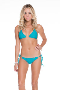 COSITA BUENA - Wavey Triangle Top & Wavey Brazilian Tie Side Ruched Back • Exuma
