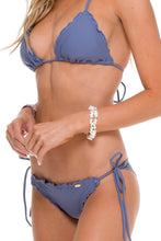 COSITA BUENA - Wavey Triangle Top & Wavey Brazilian Tie Side Ruched Back • Blue Moon