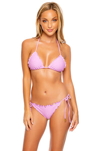 COSITA BUENA - Wavy Triangle Top & Wavy Ruched Back Tie Side Bottom • Lavanda