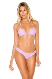 COSITA BUENA - Wavey Triangle Top & Seamless Wavey Ruched Back Brazilian Bottom • Lavanda