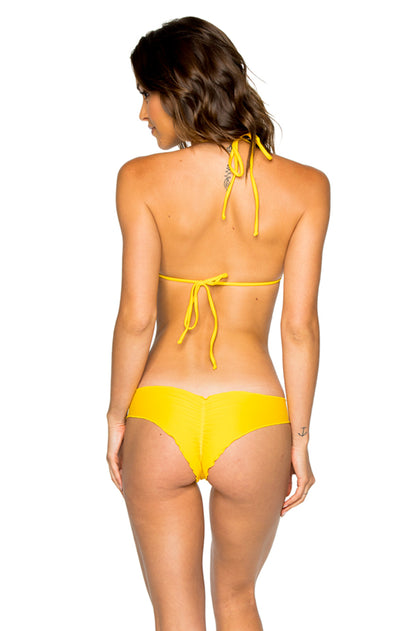 COSITA BUENA - Wavey Triangle Top & Seamless Front Wavey Brazilian Ruched Bottom • Limon
