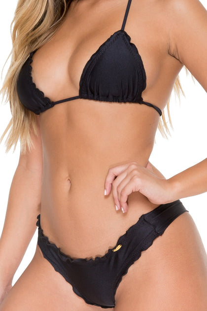 COSITA BUENA - Wavey Triangle Top & Wavey Brazilian Ruched Back Bottom • Black