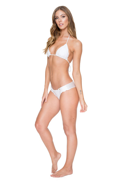 COSITA BUENA - Wavey Triangle Top & Wavey Brazilian Ruched Back Bottom • White
