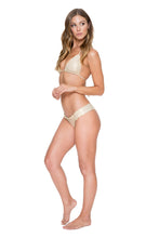 COSITA BUENA - Wavey Triangle Top & Wavey Brazilian Ruched Back Bottom • Gold Rush