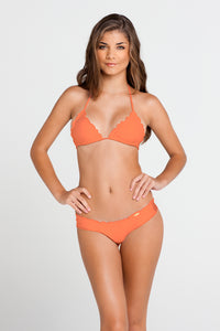 COSITA BUENA - Wavey Triangle Top & Wavey Brazilian Ruched Back Bottom • Beachy Coral