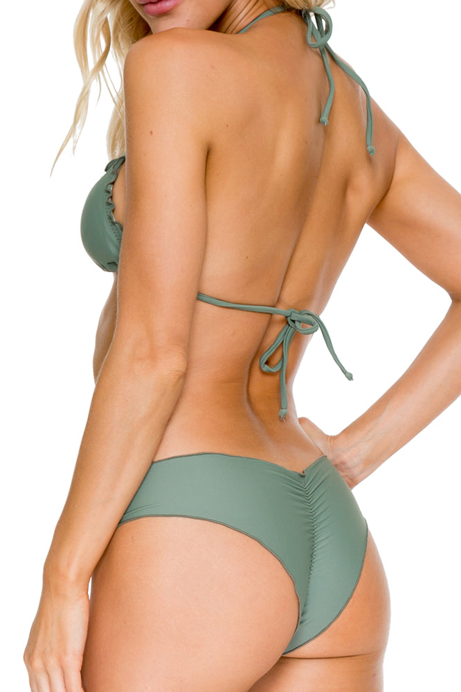 COSITA BUENA - Wavey Triangle Top & Wavey Brazilian Ruched Back Bottom • Army