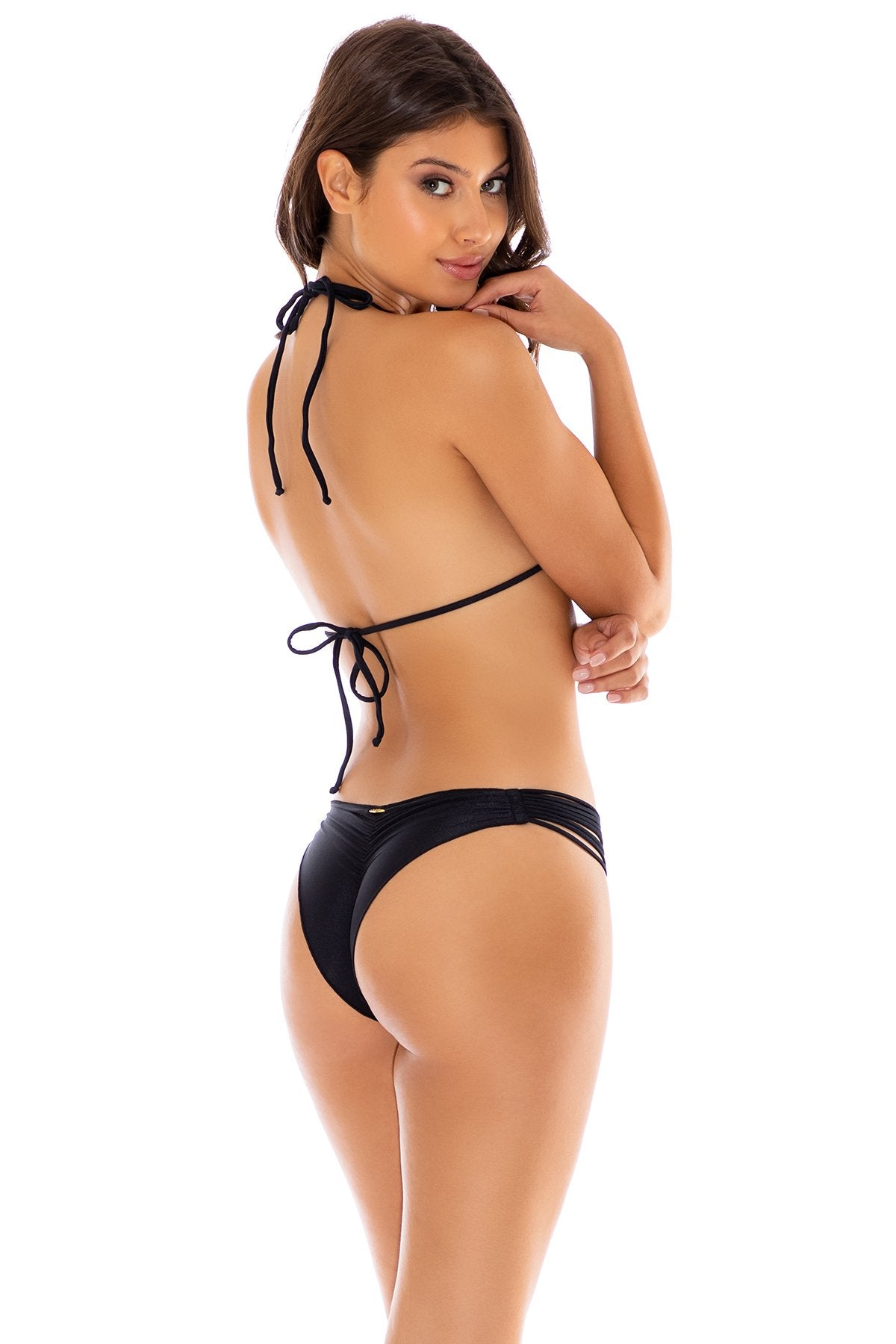 COSITA BUENA - Wavey Triangle Top & Strappy  Ruched Back Bottom • Black