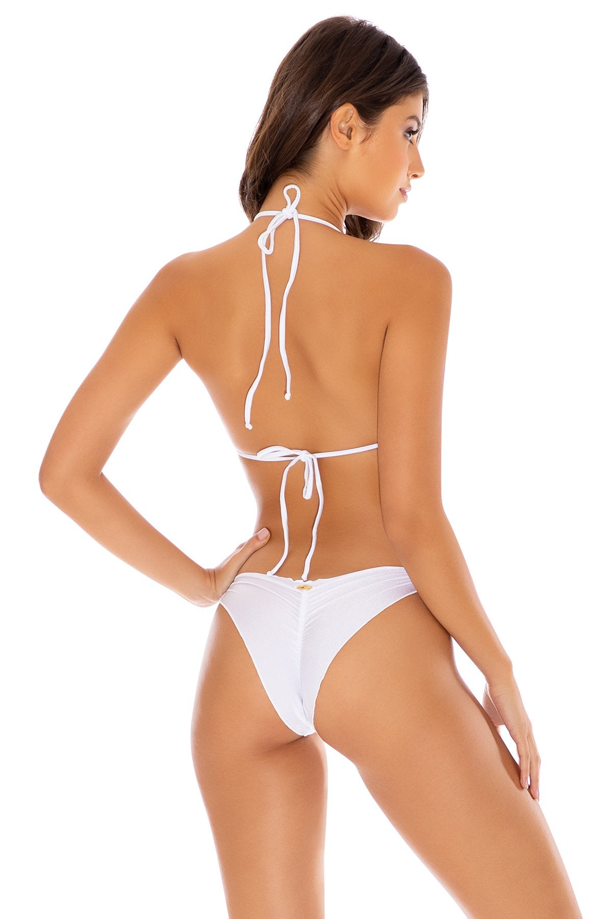 COSITA BUENA - Wavey Triangle Top & Strappy  Ruched Back Bottom • White