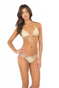 COSITA BUENA - Wavey Triangle Top & Strappy Brazilian Ruched Back Bottom • Gold Rush