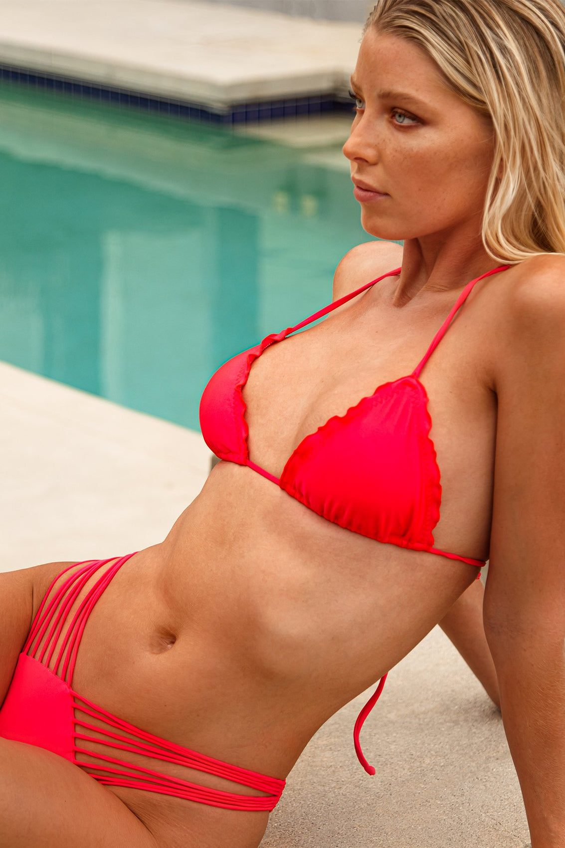 COSITA BUENA - Wavy Triangle Top & Strappy  Ruched Back Bottom • Bombshell Red Campaign