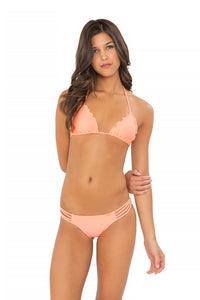 COSITA BUENA - Wavey Triangle Top & Multi Strap Ruched Brazilian • Miami Peach