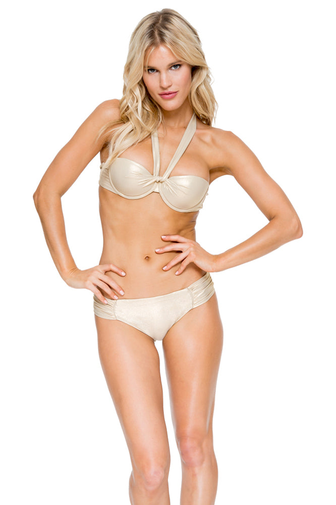 COSITA BUENA - Fama Multi Way Underwire Bandeau & Scrunch Side Full Bottom • Gold Rush (892497985580)