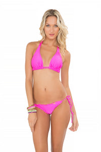 COSITA BUENA - Halter Triangle Top & Wavey Full Tie Side Ruched Back • Too Hot Miami