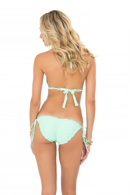 COSITA BUENA - Halter Triangle Top & Wavey Full Tie Side Ruched Back • Mint Convertible