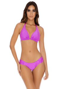 COSITA BUENA - Triangle Halter Top & Scrunch Side Full Bottom • Obsession Plum