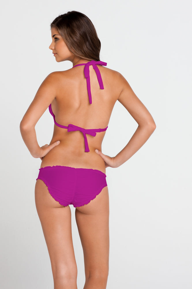 COSITA BUENA - Halter Triangle Top & Full Ruched Back Bottom • Dancing Orchid