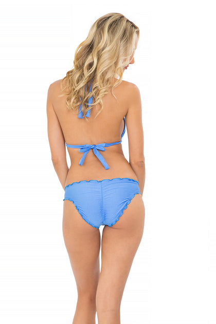 COSITA BUENA - Halter Triangle Top & Full Ruched Back Bottom • Sea Angel