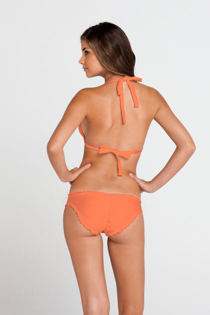 COSITA BUENA - Halter Triangle Top & Full Ruched Back Bottom • Beachy Coral