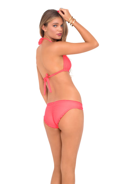 COSITA BUENA - Halter Triangle Top & Full Ruched Back Bottom • Fire Coral