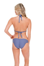 COSITA BUENA - Halter Triangle Top & Full Ruched Back Bottom • Blue Moon