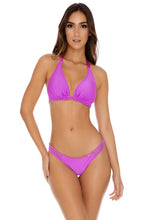 COSITA BUENA - Triangle Halter Top & Multi Strap Ruched Back Bottom • Obsession Plum