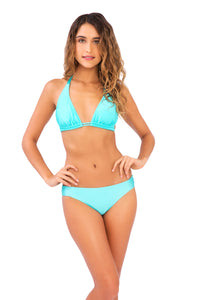 COSITA BUENA - Halter Triangle Top & Reversible Seamless Full Bottom • Aquamarine