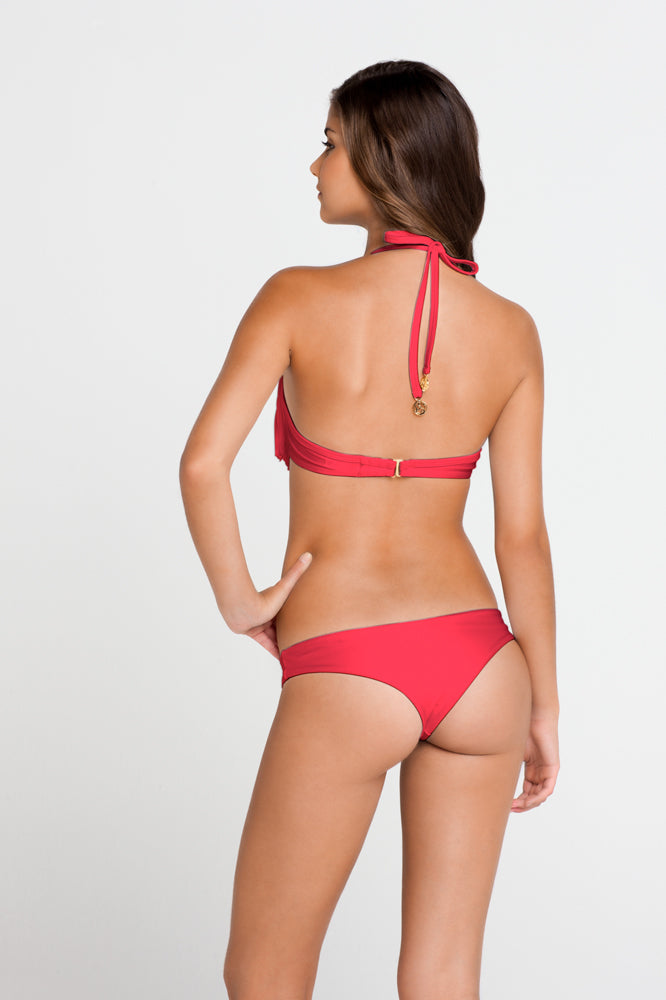 COSITA BUENA - Fringe Plunge Push Up Underwire & Seamless Minimal Coverage Bottom • Bombshell Red