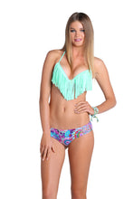 COSITA BUENA - Fringe Plunge Push Up Underwire & Hand Knit Crochet Flower Sides Skimpy Bottom • Multicolor