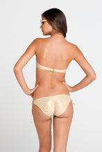 COSITA BUENA - Underwire Push Up Bandeau & Wavey Full Tie Side Ruched Back • Gold Rush
