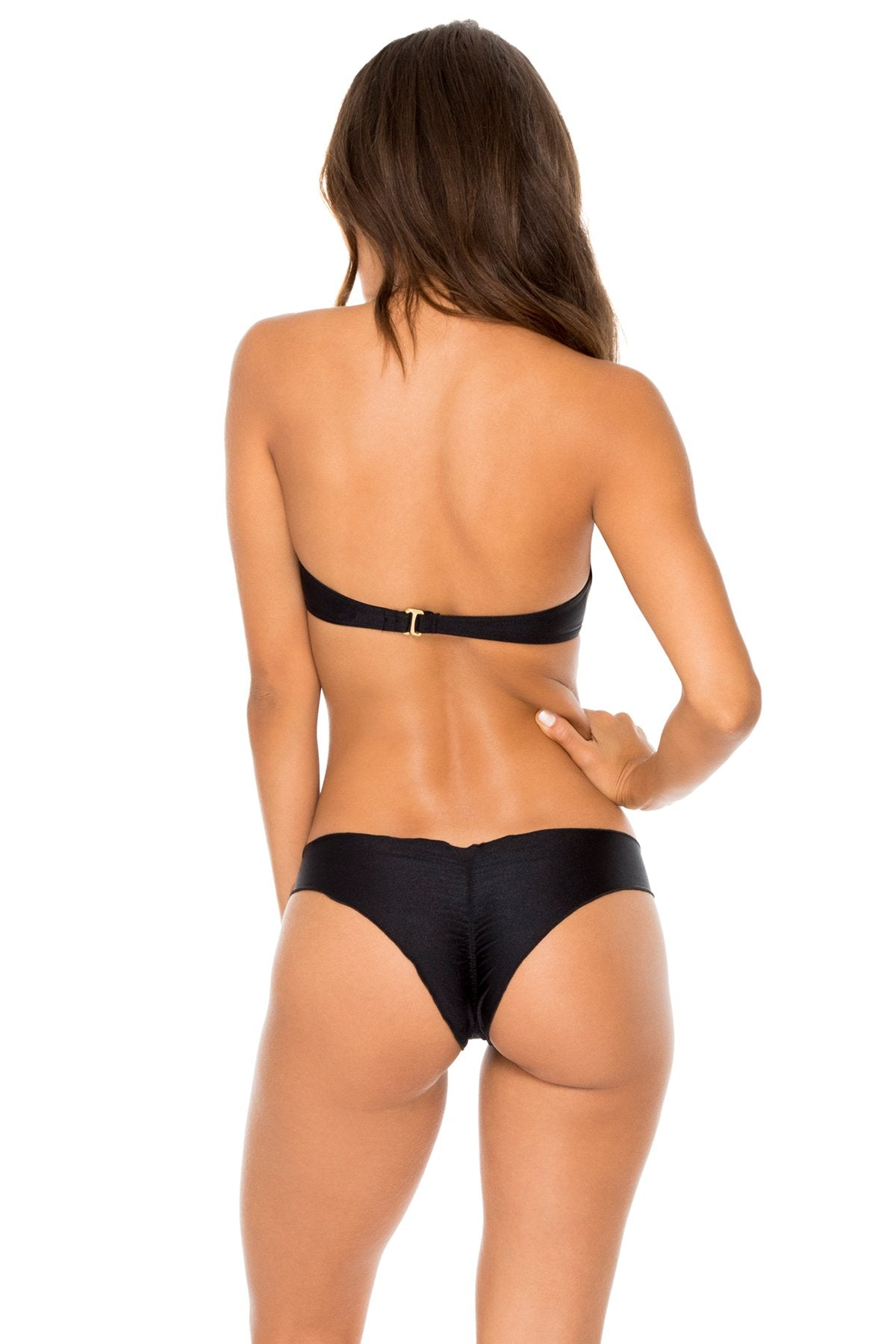 COSITA BUENA - Underwire Push Up Bandeau Top & Seamless Wavey Ruched Back Brazilian Bottom • Black