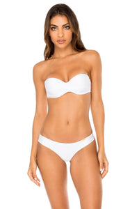 COSITA BUENA - Underwire Push Up Bandeau Top & Seamless Wavey Ruched Back Brazilian Bottom • White