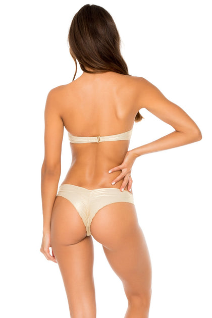 COSITA BUENA - Underwire Push Up Bandeau Top & Seamless Wavey Ruched Back Brazilian Bottom • Gold Rush