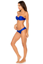 COSITA BUENA - Underwire Push Up Bandeau Top & Seamless Wavey Ruched Back Brazilian Bottom • Electric Blue