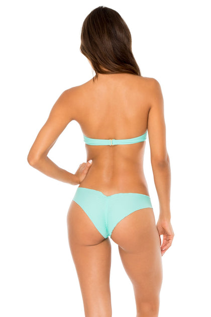 COSITA BUENA - Underwire Push Up Bandeau Top & Seamless Wavey Ruched Back Brazilian Bottom • Agua Dulce